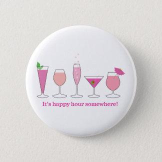 happy hour 6 cm round badge