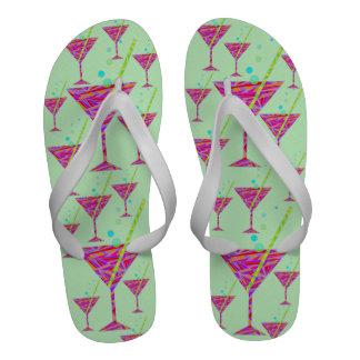 Happy Hour Cocktail Glass Men s Beach Shoes Sandal Flip-Flops