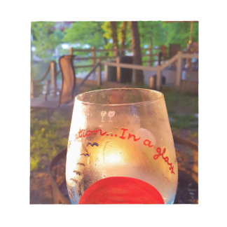 Happy Hour Firepit Through Wine Glass Notepads