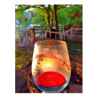 Happy Hour Firepit Through Wine Glass Postcard