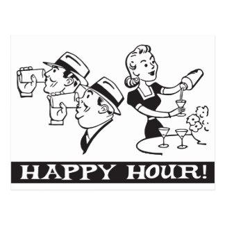 Happy Hour invitation with funny retro Postcard