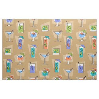 Happy Hour Retro Hawaiian Tropical Drinks Fabric