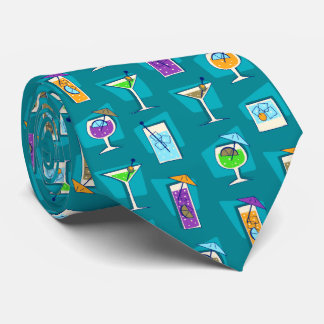 Happy Hour Retro Hawaiian Tropical Drinks Two-side Tie