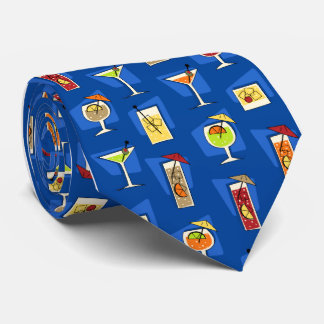 Happy Hour Retro Hawaiian Tropical Drinks Two-side Tie