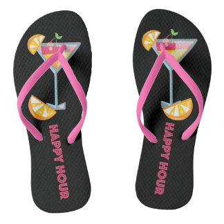 Happy Hour Summer Martini Cocktail Flip Flops Thongs