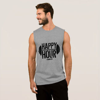 Happy Hour Weightlifting Barbell Gym Workout Mens Sleeveless Shirt