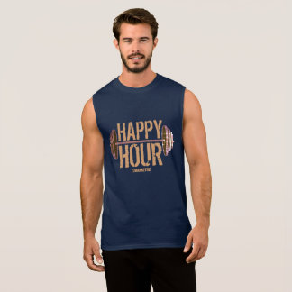 Happy Hour Weightlifting Barbell Gym Workout Navy Sleeveless Shirt