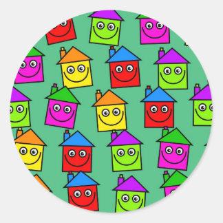 Happy House Wallpaper Classic Round Sticker