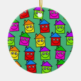 Happy House Wallpaper Round Ceramic Decoration