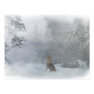 """Happy """"Howl""""idays Wolf in the Snow Postcard"""