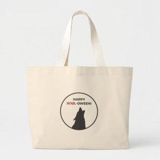 Happy Howl-oween Werewolf Halloween Design Large Tote Bag