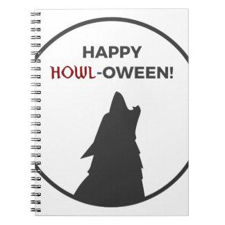 Happy Howl-oween Werewolf Halloween Design Notebooks