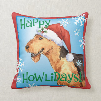 Happy Howliday Airedale Cushion