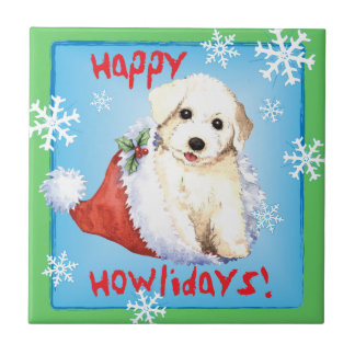 Happy Howliday Bichon Ceramic Tile
