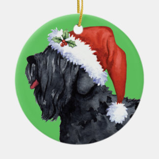 Happy Howliday Black Russian Terrier Ceramic Ornament