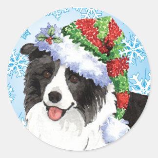 Happy Howliday Border Collie Classic Round Sticker