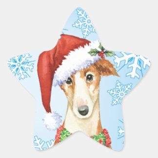 Happy Howliday Borzoi Star Sticker