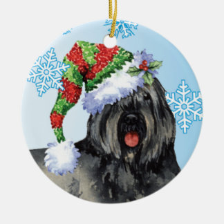 Happy Howliday Bouvier Ceramic Ornament
