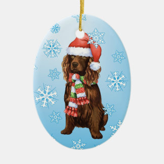 Happy Howliday Boykin Spaniel Ceramic Ornament