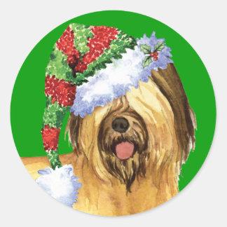 Happy Howliday Briard Round Sticker