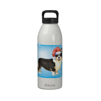 Happy Howliday Cardigan Welsh Corgi Reusable Water Bottles