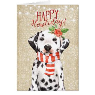 Happy Howliday christmas card dalmation holly