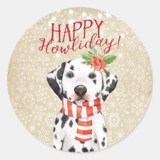 Happy Howliday christmas dalmation pet sticker