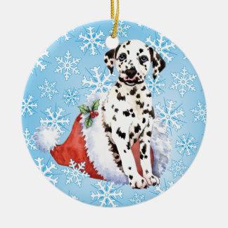 Happy Howliday Dalmatian Ceramic Ornament
