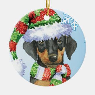 Happy Howliday Doberman Ceramic Ornament
