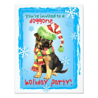 Happy Howliday German Shepherd 11 Cm X 14 Cm Invitation Card