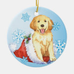 Happy Howliday Golden Retriever Round Ceramic Decoration
