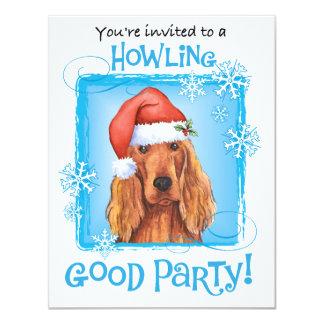 """Happy Howliday Irish Setter 4.25"""" X 5.5"""" Invitation Card"""