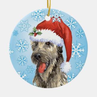 Happy Howliday Irish Wolfhound Round Ceramic Decoration
