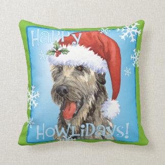 Happy Howliday Irish Wolfhound Throw Pillow