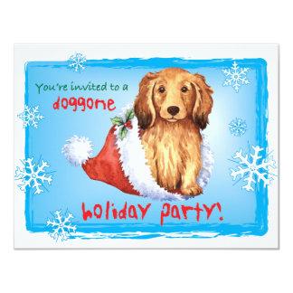 Happy Howliday Longhaired Dachshund 11 Cm X 14 Cm Invitation Card