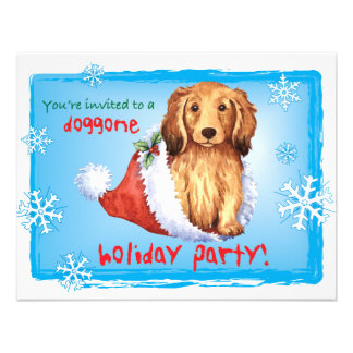 Happy Howliday Longhaired Dachshund Invites