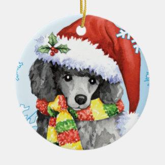 Happy Howliday Miniature Poodle Ceramic Ornament