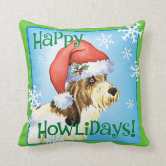 Happy Howliday PBGV Throw Pillow