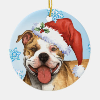 Happy Howliday Pit Bull Terrier Ceramic Ornament