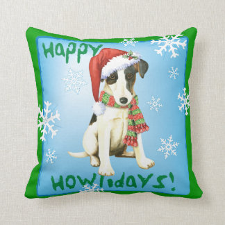 Happy Howliday Smooth Fox Terrier Throw Pillow