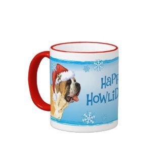 Happy Howliday St. Bernard Ringer Mug
