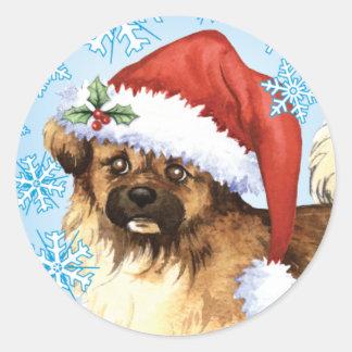 Happy Howliday Tibetan Spaniel Classic Round Sticker