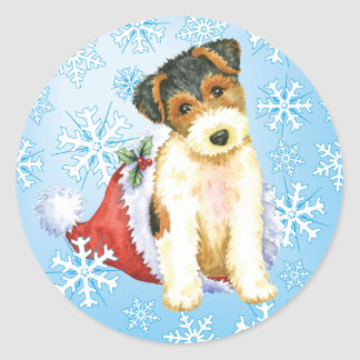 Happy Howliday Wire Fox Terrier Round Sticker