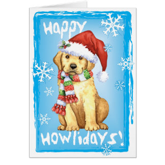 Happy Howliday Yellow Lab Greeting Card