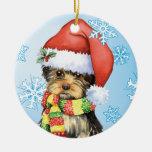 Happy Howliday Yorkie Christmas Tree Ornaments