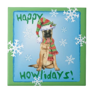 Happy Howlidays Belgian Malinois Ceramic Tile