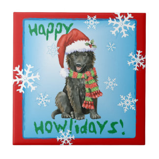 Happy Howlidays Belgian Sheepdog Ceramic Tile