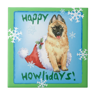 Happy Howlidays Belgian Tervuren Ceramic Tile