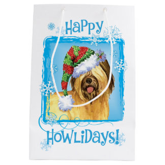 Happy Howlidays Briard Medium Gift Bag