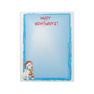 Happy Howlidays Bull Terrier Notepad